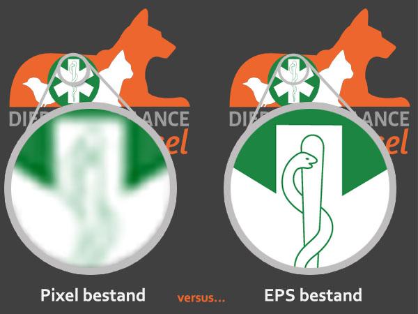 In deze afbeelding is het verschil tussen een pixel bestand en EPS bestand duidelijk te zien.
